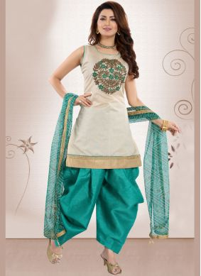 Green Embroidered Chanderi Designer Patiala Suit