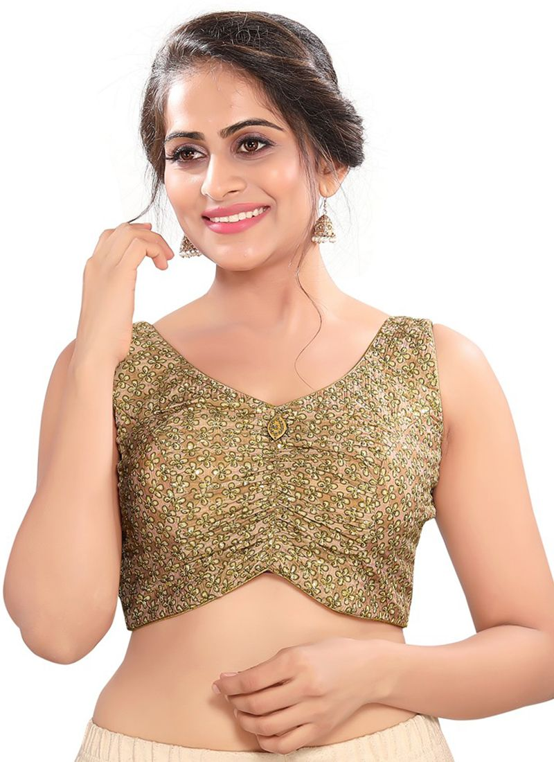Green Embroidered Cotton Silk Blouse