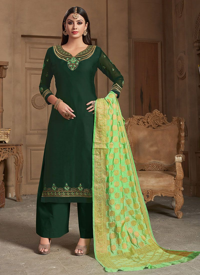 Green Embroidered Designer Straight Suit