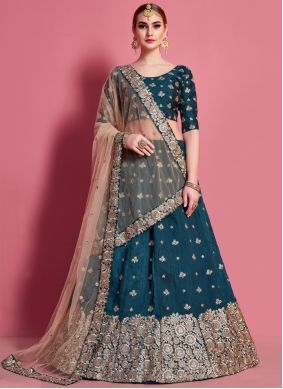 Green Embroidered Engagement A Line Lehenga Choli