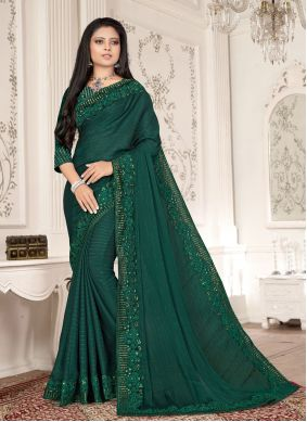 Green Embroidered Fancy Fabric Designer Saree