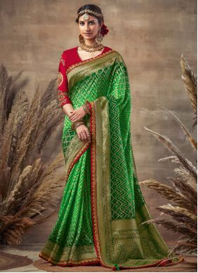Green Embroidered Fancy Fabric Designer Traditional Saree