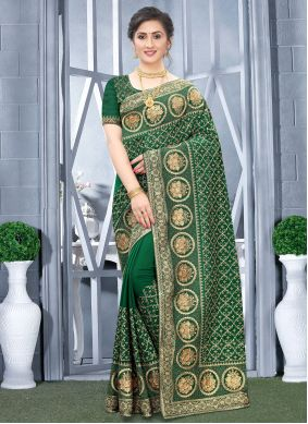 Green Embroidered Fancy Fabric Traditional Designer Saree
