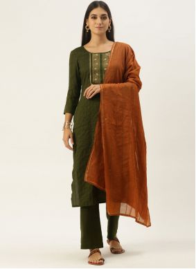 Green Embroidered Faux Chiffon Pant Style Suit