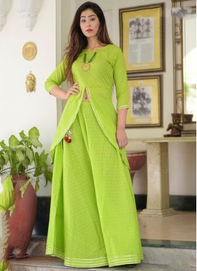 Green Embroidered Festival Casual Kurti