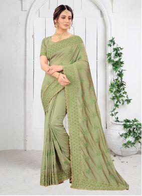 Green Embroidered Festival Silk Saree