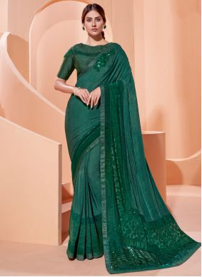 Green Embroidered Festival Traditional Saree