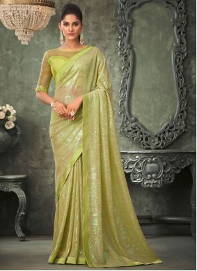 Green Embroidered Georgette Classic Saree
