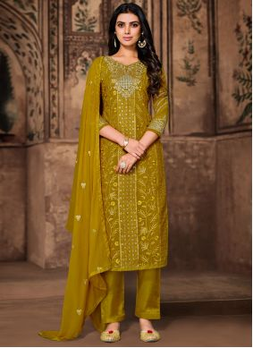 Green Embroidered Georgette Pant Style Suit