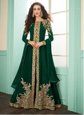 Green Embroidered Georgette Salwar Suit