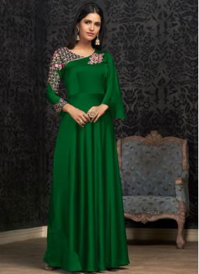 Green Embroidered Georgette Trendy Gown
