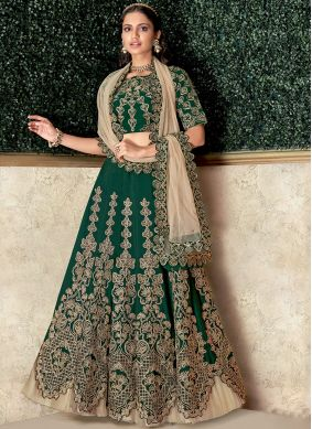 Green Embroidered Lehenga Choli