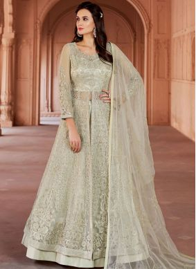 Green Embroidered Long Choli Lehenga
