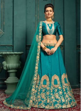 Green Embroidered Malbari Silk  Lehenga Choli
