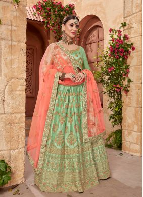 Green Embroidered Mehndi Designer Lehenga Choli