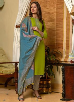 Green Embroidered Muslin Pant Style Suit