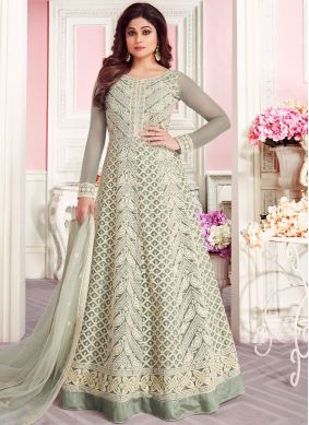Green Embroidered Net Anarkali Salwar Suit