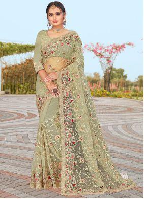 Green Embroidered Net Designer Saree