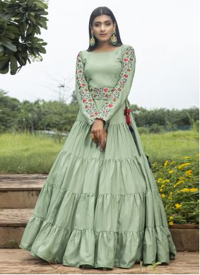 Green Embroidered Ceremonial Designer Gown