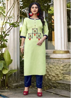 Green Embroidered Party Designer Kurti
