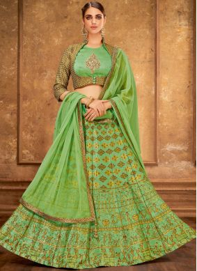 Green Embroidered Party Trendy Designer Lehenga Choli
