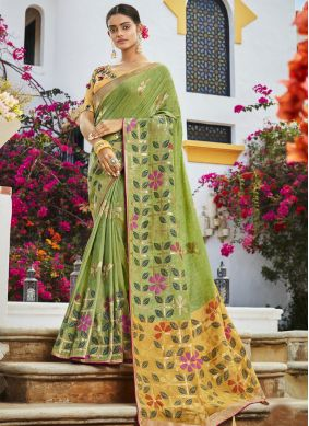 Green Embroidered Silk Classic Saree