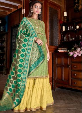 Green Embroidered Silk Designer Palazzo Salwar Kameez
