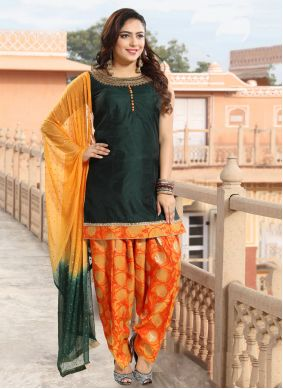 Green Embroidered Silk Designer Patiala Suit