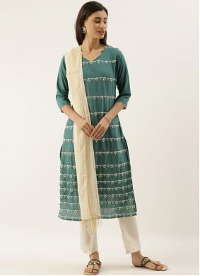 Green Embroidered Silk Trendy Salwar Suit