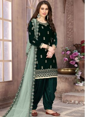 Green Embroidered Velvet Designer Patiala Suit