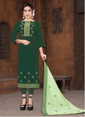 Green Embroidered Viscose Designer Straight Suit