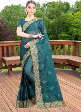 Green Embroidered Wedding Bollywood Saree