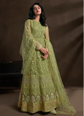 Green Embroidered Wedding Gown