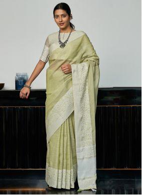 Green Engagement Linen Traditional Saree