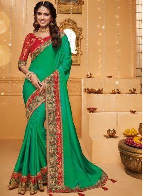 Green Fancy Fabric Trendy Saree
