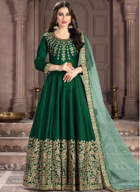 Green Fancy Fabric Wedding Anarkali Suit