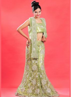 Green Fancy Net Lehenga Choli