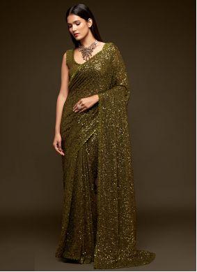 Green Faux Georgette Classic Designer Saree