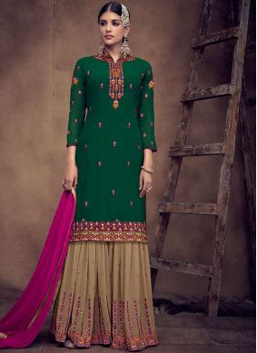 Green Faux Georgette Embroidered Palazzo Designer Salwar Kameez