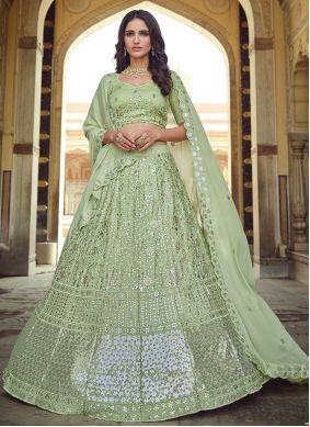 Green Faux Georgette Sangeet Lehenga Choli