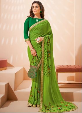 Green Faux Georgette Abstract Print Saree