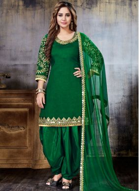 Green Festival Art Silk Punjabi Suit
