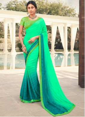 Green Festival Faux Georgette Shaded Saree