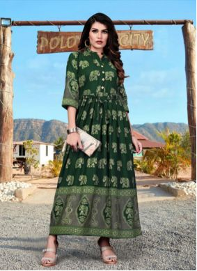Green Foil Print Rayon Party Wear Kurti