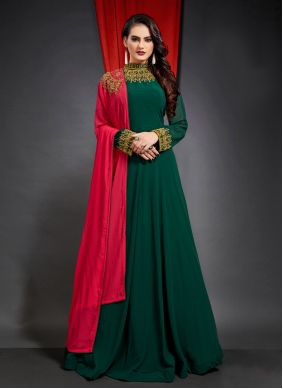 Green Georgette Ceremonial Trendy Gown