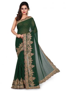 Green Georgette Embroidered Designer Traditional Saree