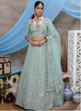 Green Georgette Party Trendy Lehenga Choli