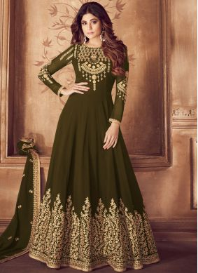 Green Georgette Sangeet Anarkali Suit