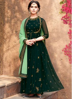 Green Georgette Sangeet Salwar Suit