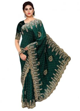 Green Handwork Trendy Saree